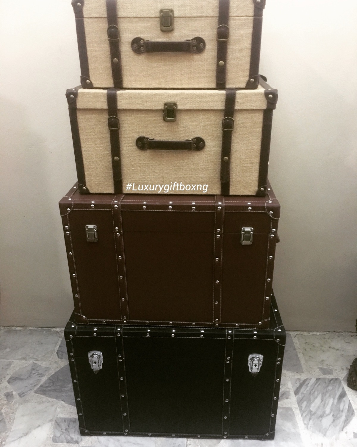 Rattan and leather boxes