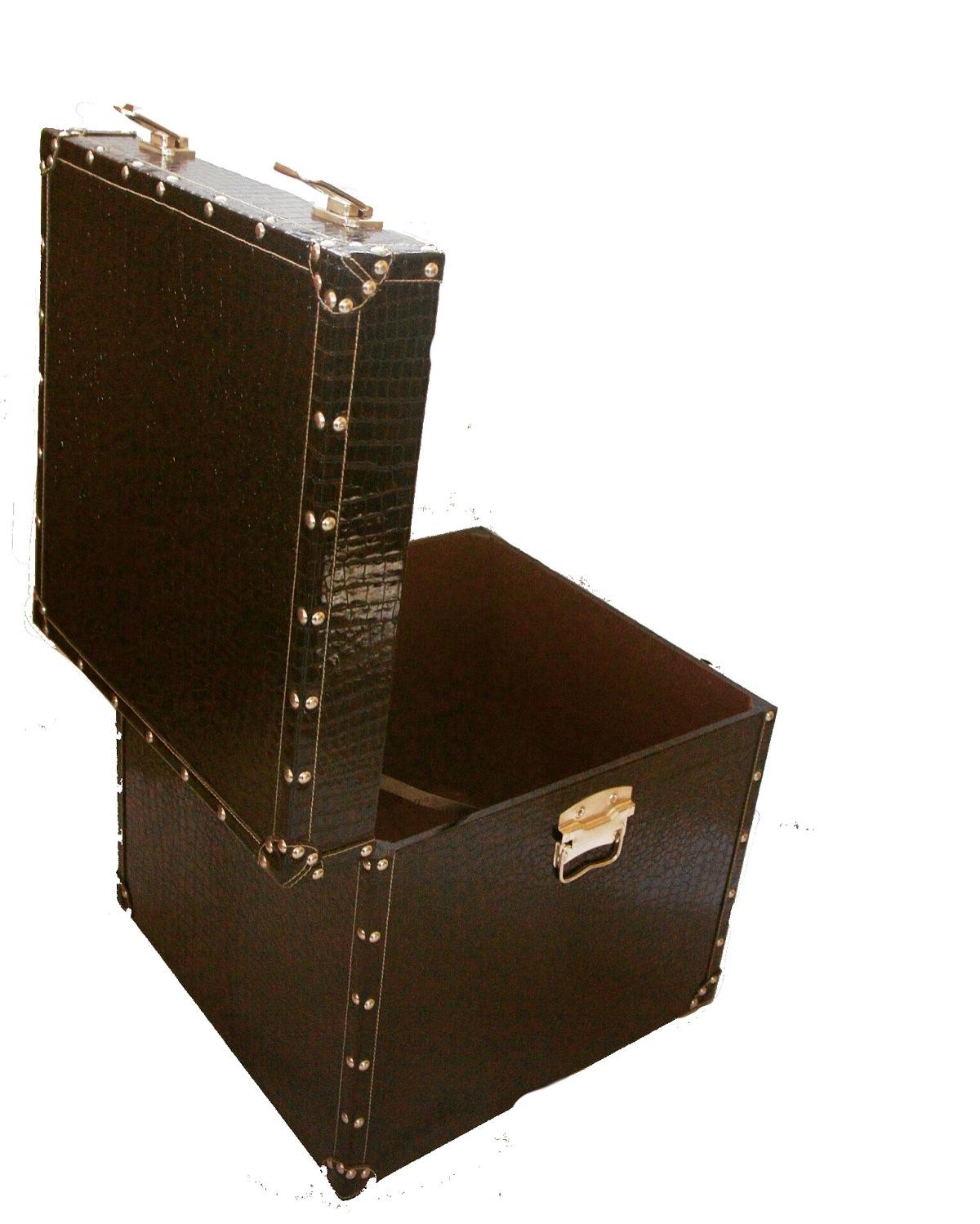 Brown Crocodile Leather Box