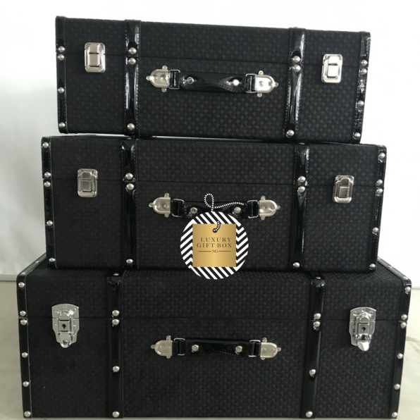 Black Fabric Patent Suitcase Trunk