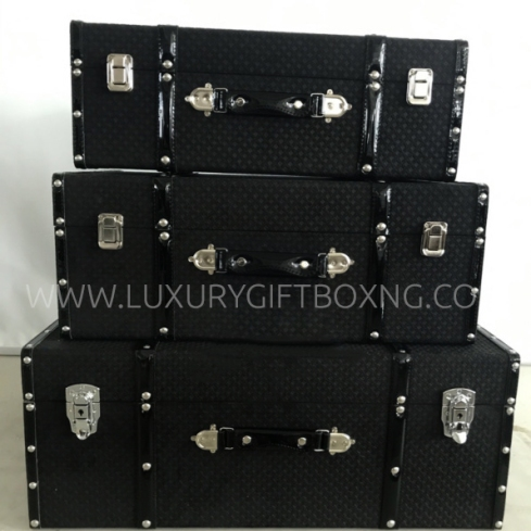 Black Fabric Patent Suitcase Trunk
