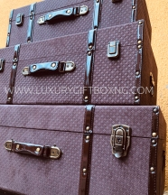 Brown Suede and Patent brown leather trunk box - suitcase style3