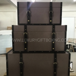 Grey Brown Leather Trunk