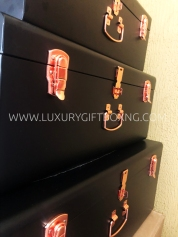 Matte Black Metal Trunk Box with Rose Gold Locks
