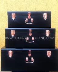Matte Black Metal Trunk Box with Rose Gold Locks3