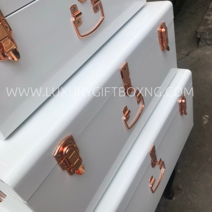 Metal White Trunk Box with Rose Gold Details