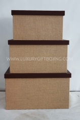 Rattan Fabric and Brown Leather Trunk Box