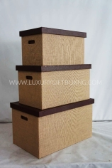 Rattan Fabric and Brown Leather Trunk Box2