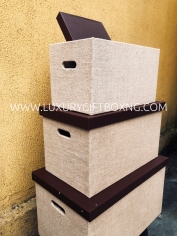 Rattan Fabric and Brown Leather Trunk Box3