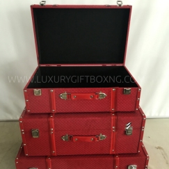 Red Fabric Patent Suitcase Trunk