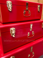 Red Metal Trunk Box with Gold Locks3