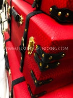 Red Ottoman Trunk box with brown belt detailing2